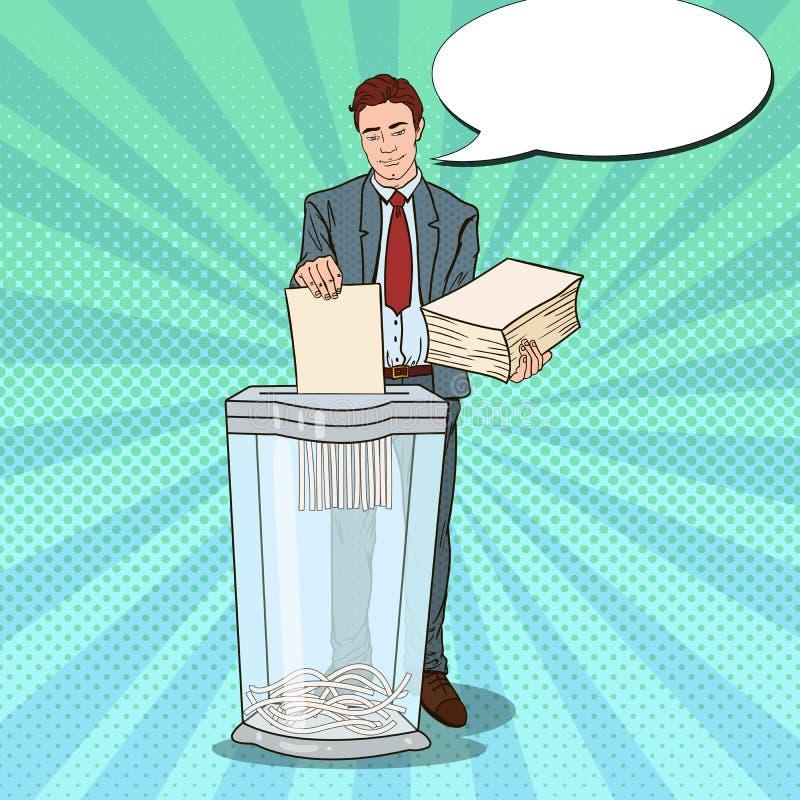 Pop Art Businessman Destroying Paper Documents i dokumentförstörare vektor illustrationer
