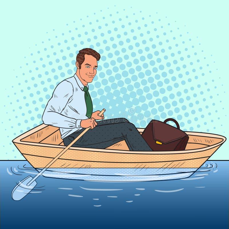 Pop Art Businessman Floating in de Boot Vlucht van het Werk aan Vakantie royalty-vrije illustratie