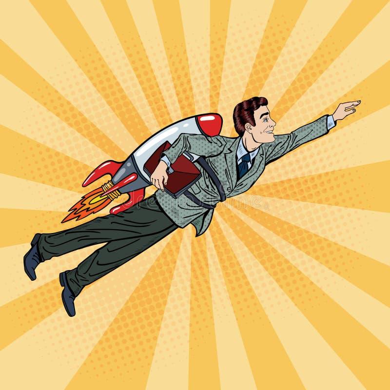 Pop Art Businessman Flying på raket affären startar upp vektor illustrationer