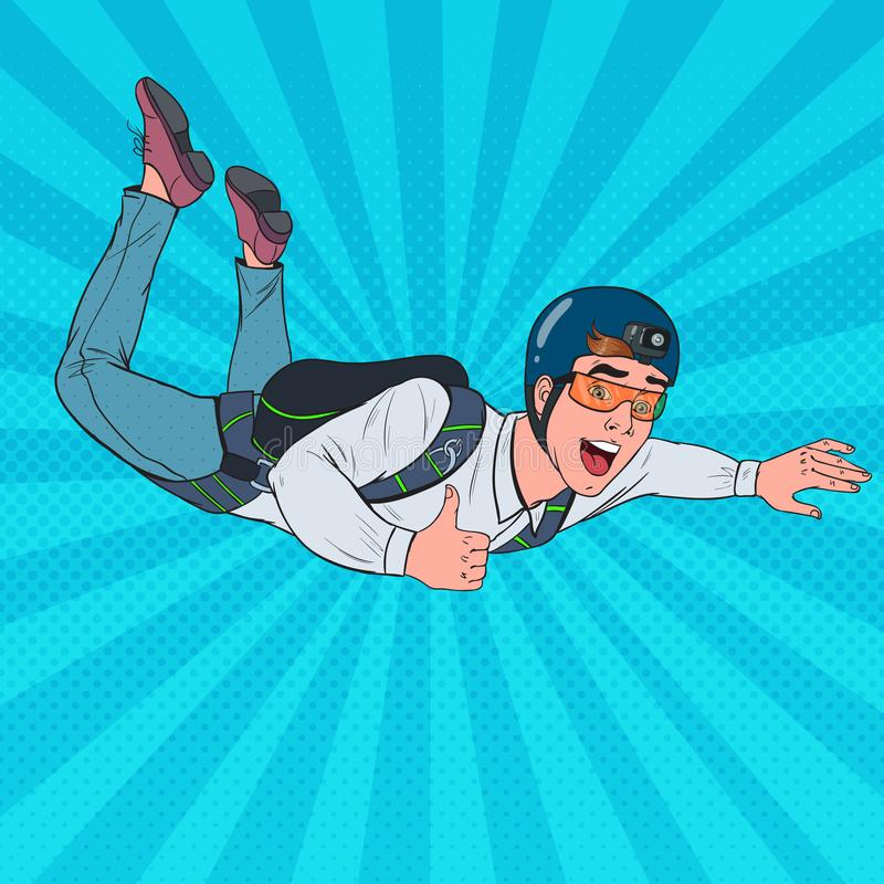 Pop Art Businessman Flying with Parachute. Happy Man Parachutist. Skydiver in the Air vector illustration
