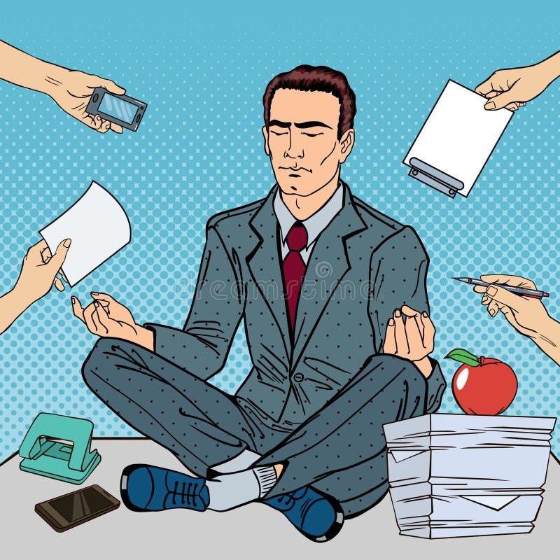 Pop Art Businessman Meditating on the Office Table at Multi Tasking Work stock illustration