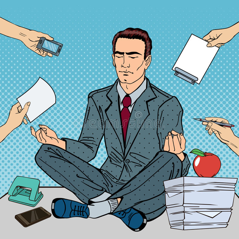 Pop Art Businessman Meditating op de Bureaulijst op het Multi het Belasten Werk stock illustratie