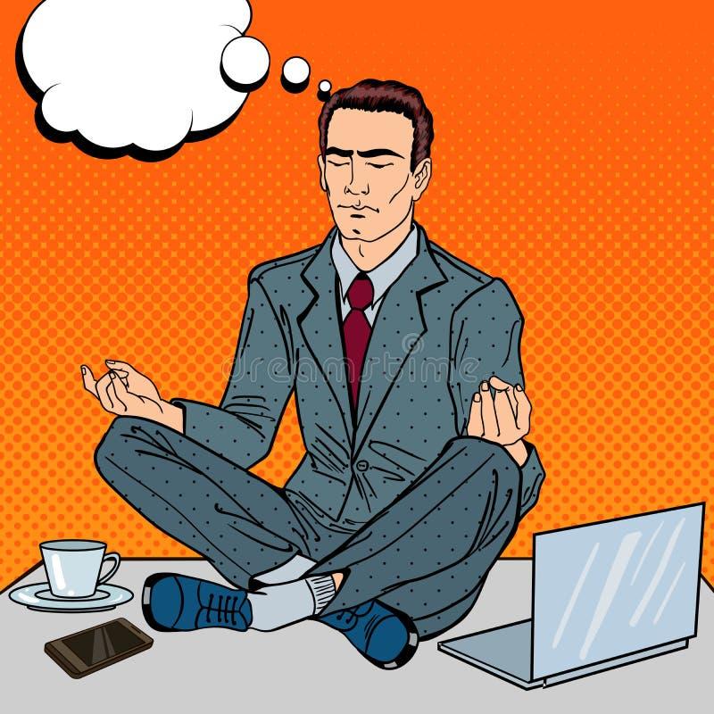 Pop Art Businessman Meditating op de Bureaulijst op het Multi het Belasten Werk royalty-vrije illustratie