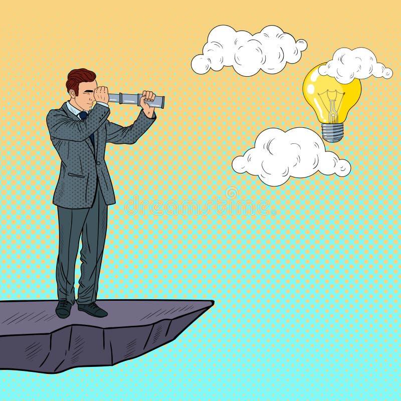 Pop Art Businessman met Telescoop op de Bovenkant van de Berg op zoek naar Idee Bedrijfsinnovatie royalty-vrije illustratie