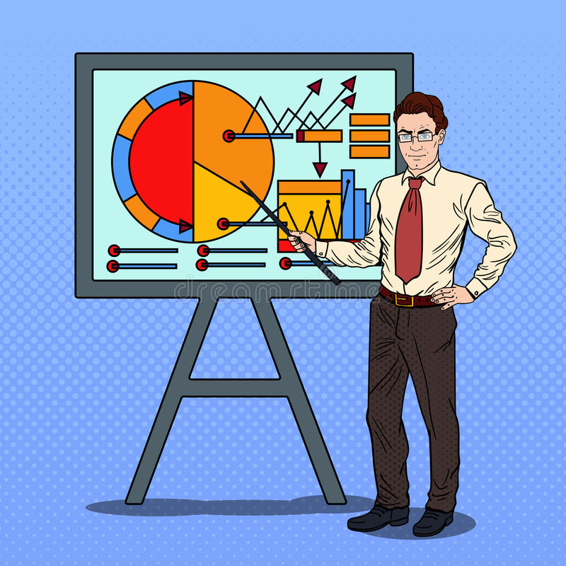 Pop Art Businessman with Pointer Stick Presenting Business Chart. Vector illustration royalty free illustration