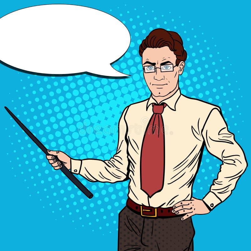 Download Pop Art Businessman With Pointer Stick Stock Vector - Illustration of illustration, speaker: 83720434