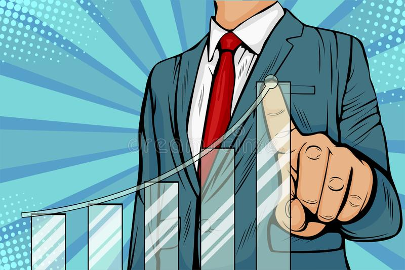 Pop art Businessman pointing arrow graph corporate future growth plan royalty free illustration