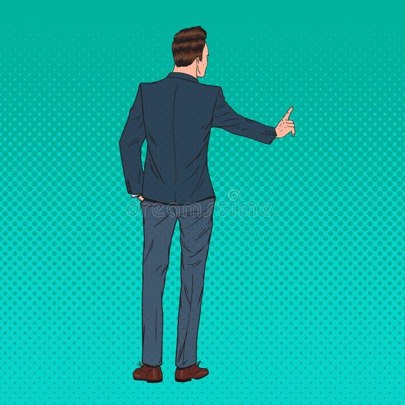 Pop Art Businessman Pressing een Virtuele Denkbeeldige Knoop Moderne technologie stock illustratie