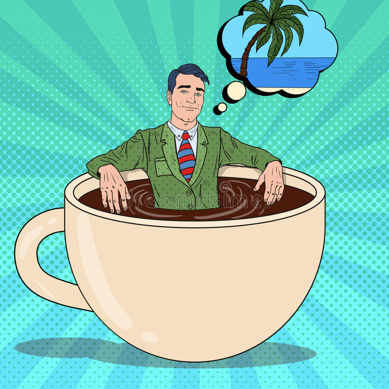 Pop Art Businessman Relaxing in Coffee Cup vector illustration