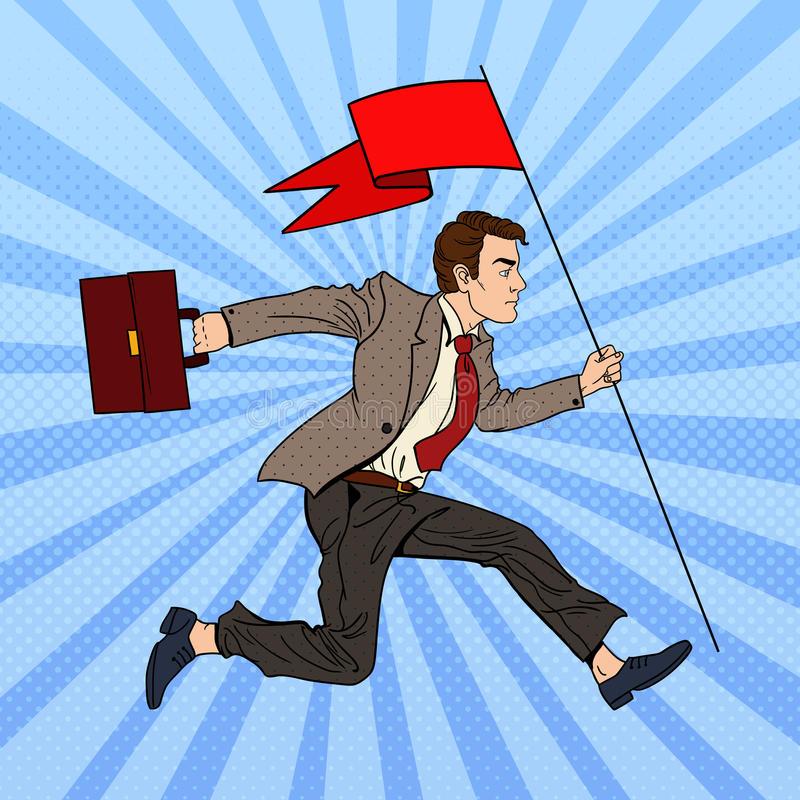 Download Pop Art Businessman Running With Red Flag To Success Stock Vector - Image: 83719403