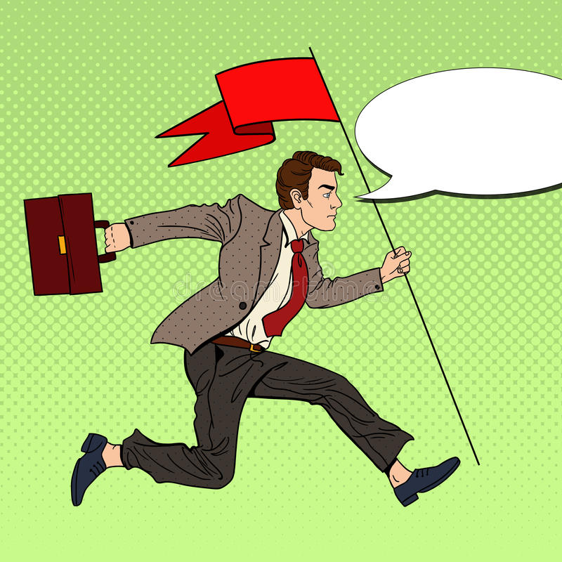 Download Pop Art Businessman Running With Red Flag To Success Stock Vector - Image: 83719412