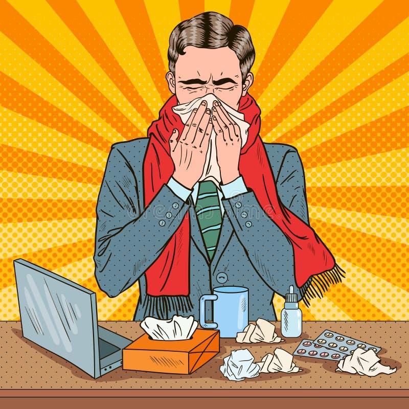 Pop Art Businessman Sneezing på arbete royaltyfri illustrationer