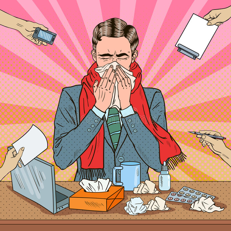 Pop Art Businessman Sneezing på kontorsarbete vektor illustrationer