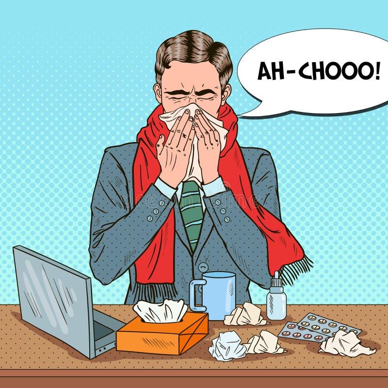 Pop Art Businessman Sneezing på kontorsarbete stock illustrationer