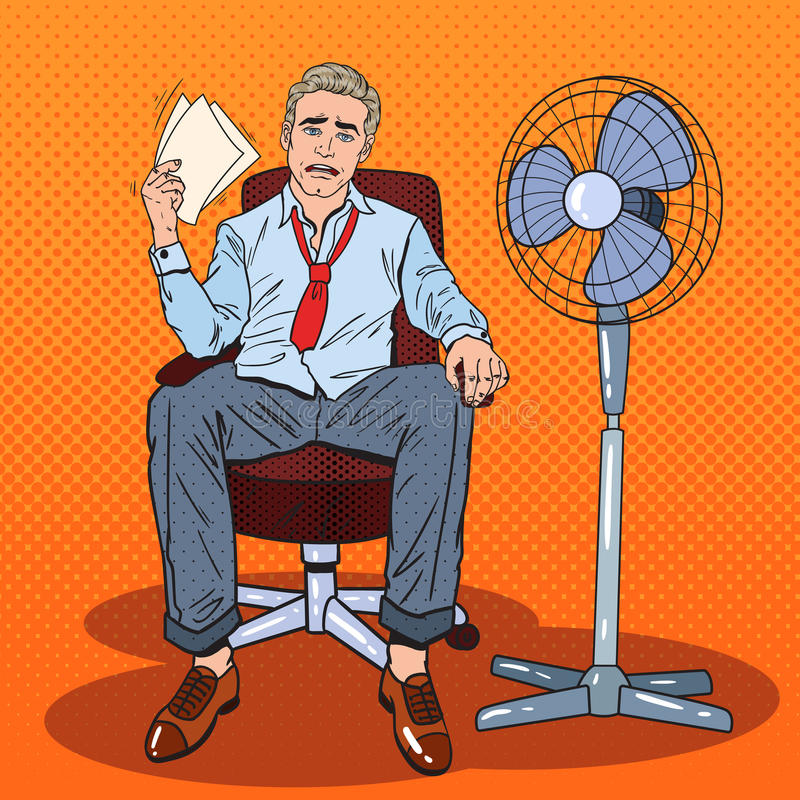 Download Pop Art Businessman Sweating In Warm Office With Fan Stock Vector
