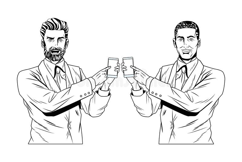 Pop art businessmen presentation black and white royalty free illustration