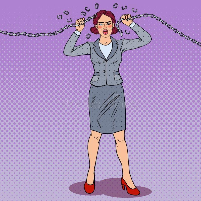 Pop Art Businesswoman Breaking Metal Chain Sterke Vrouw Druk op het Werk vector illustratie