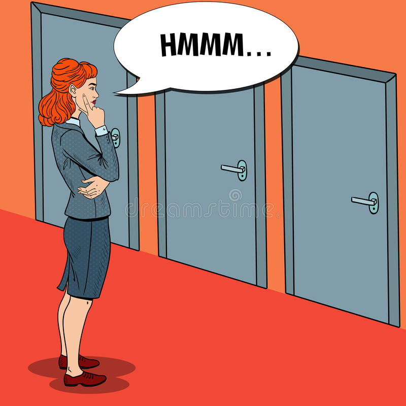 Pop Art Businesswoman Choosing the Right Door royalty free illustration