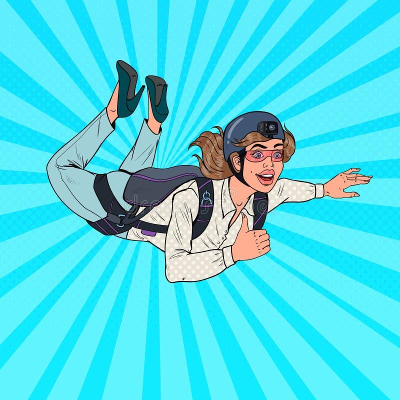 Pop Art Businesswoman Flying met Valscherm Gelukkige Vrouwenparachutist Skydiver in de Lucht stock illustratie