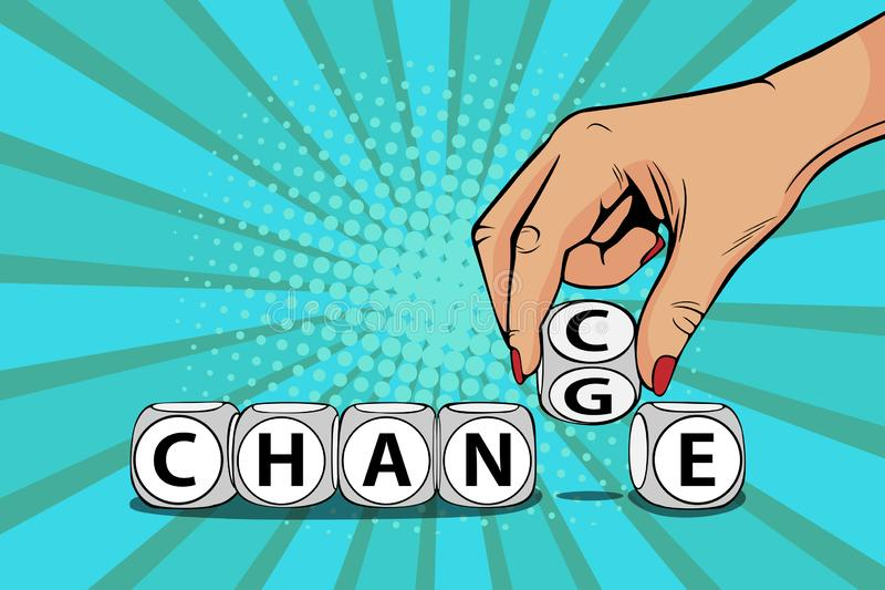 Pop art Businesswoman hand change word on blocks to chance vector illustration