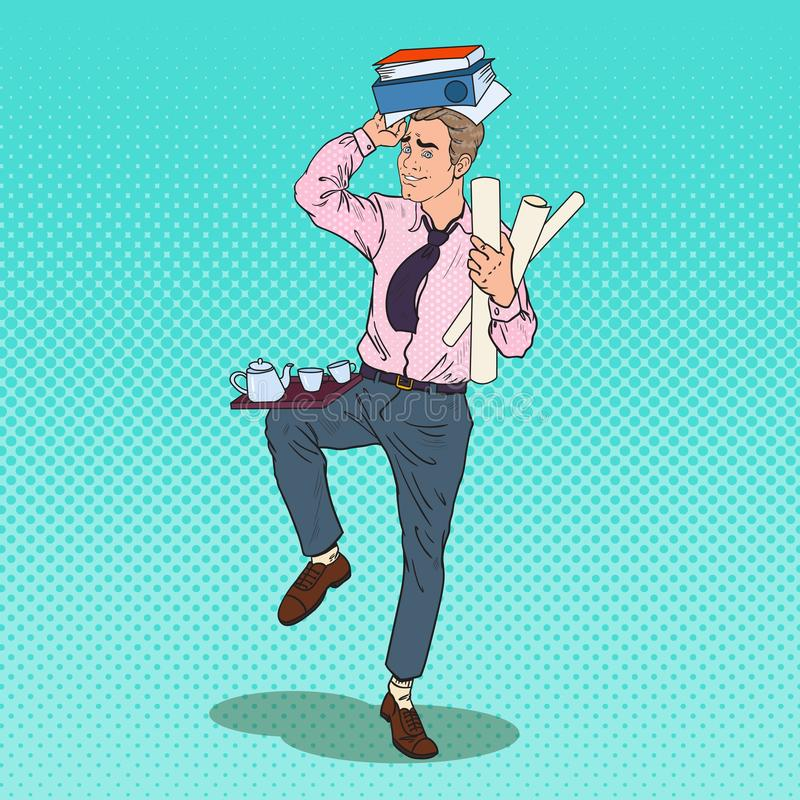 Pop Art Busy Business Man with Pile of Documents. Stress at Office Work. Vector illustration royalty free illustration
