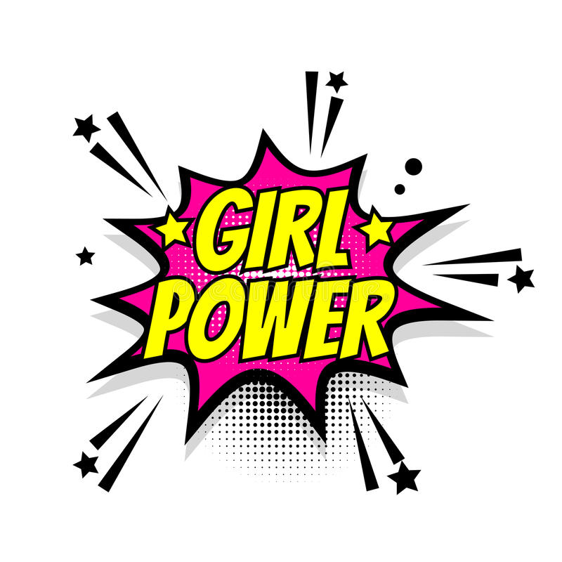 Pop art cômico da bolha do discurso do poder da menina do texto ilustração royalty free