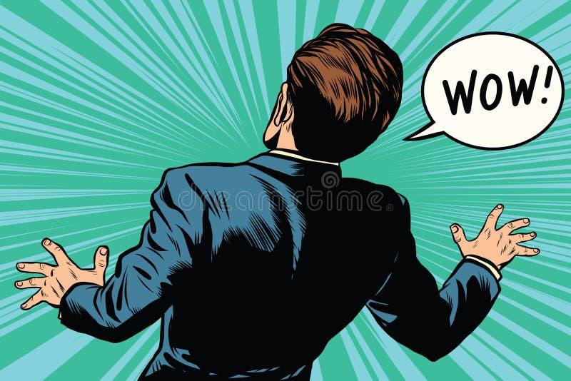 Pop art cômico retro do medo do homem da reação do wow ilustração stock