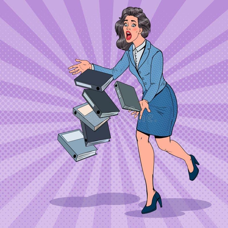 Pop Art Careless Business Woman Dropping-Omslagdocumenten Bureausecretaresse met Document Dossiers vector illustratie