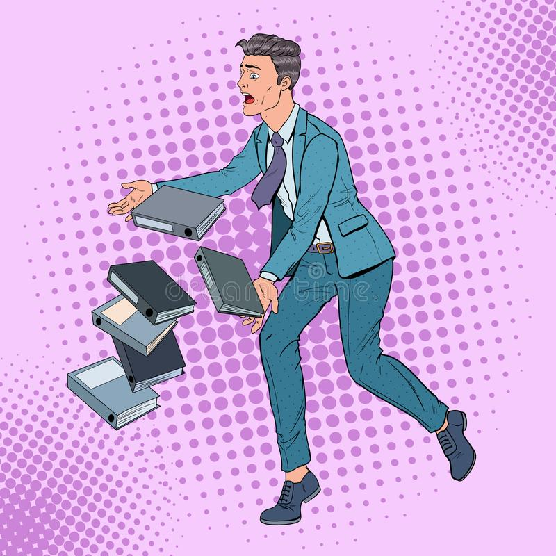 Pop Art Careless Businessman Dropping Folder-Documenten Beambte met Document Dossiers stock illustratie