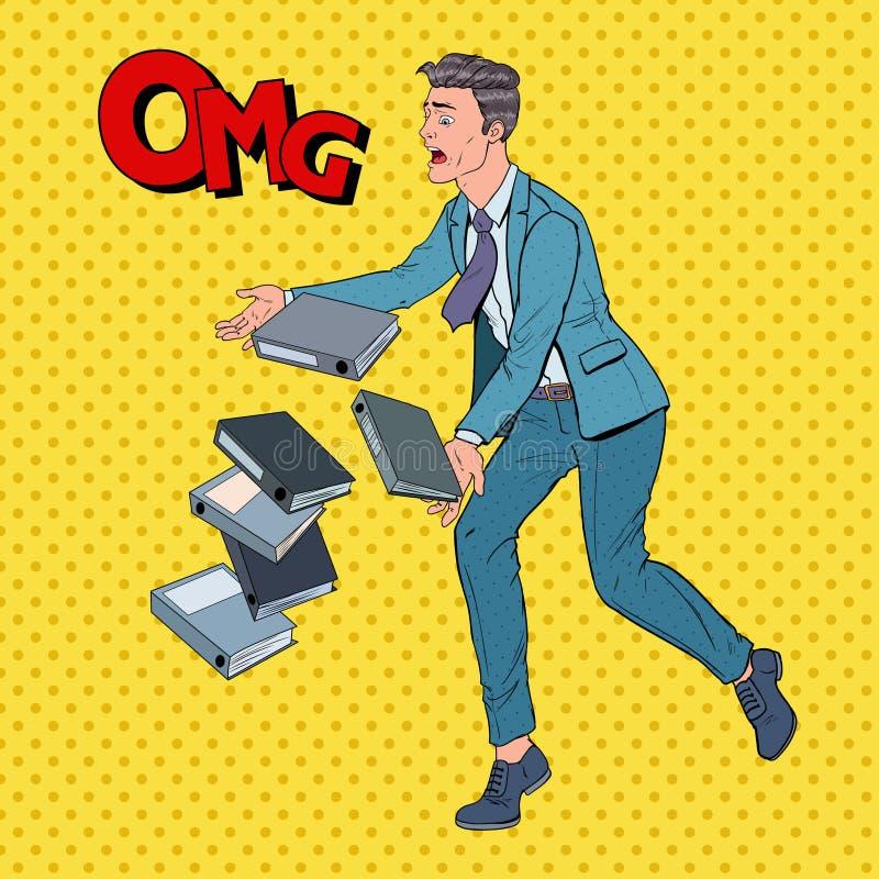 Pop Art Careless Businessman Dropping Folder-Documenten Beambte met Document Dossiers royalty-vrije illustratie