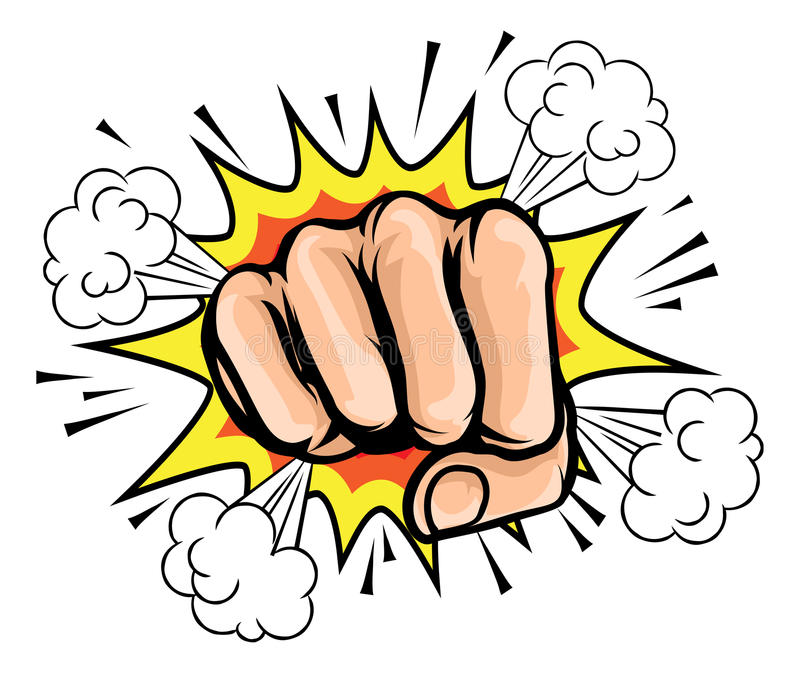 Pop Art Cartoon Fist Graphic stock illustration