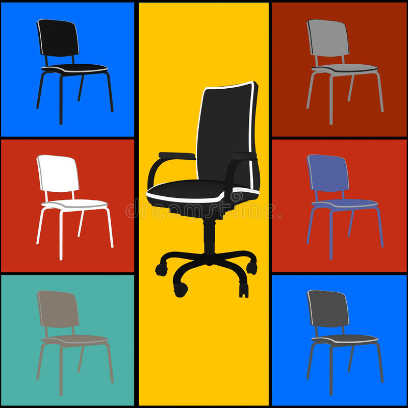 Download Pop art  chairs stock illustration. Image of collection - 26181889