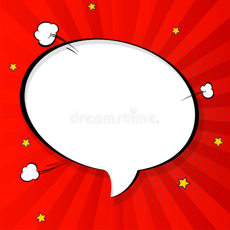 Pop art chat bubble in comics book style, blank layout template with halftone dots, comic speech bubble. Clouds beams. And isolated dots pattern. Thoughts stock illustration