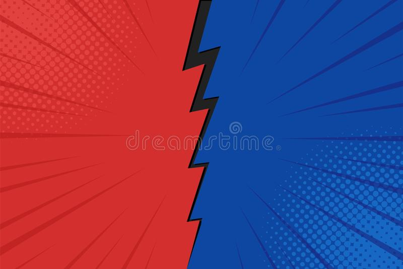 Pop art comic background lightning blast halftone dots. Cartoon Vector Illustration on red and blue vector illustration