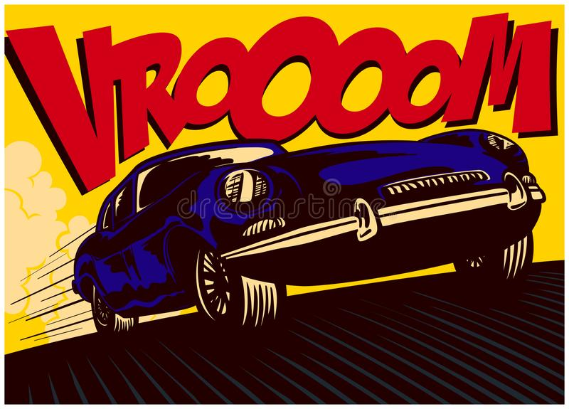 Pop art comic book car at speed with vrooom onomatopoeia vector illustration vector illustration