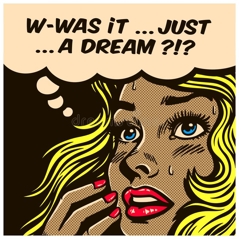 Pop art comic book doubtful wondering woman can`t tell reality from fantasy vector illustration stock illustration