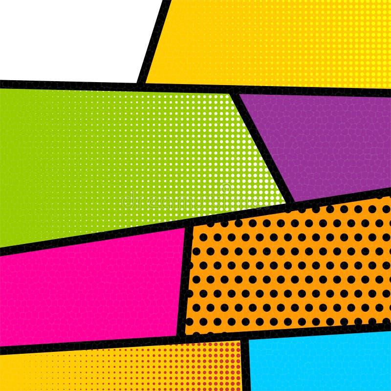 Pop art comic book strip background stock image