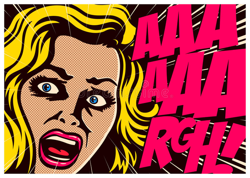 Pop art comic book woman screaming in fear illustration royalty free illustration