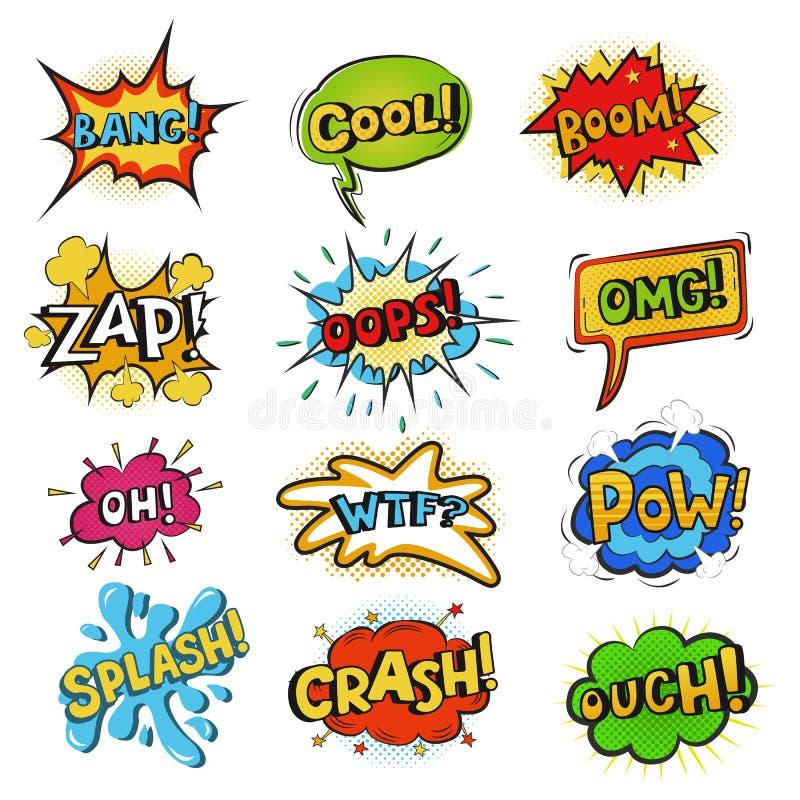 Pop art comic bubbles vector cartoon speech popart style in humor expression. Pop art comic vector set colorful speech bubbles popart style in humor expression stock illustration