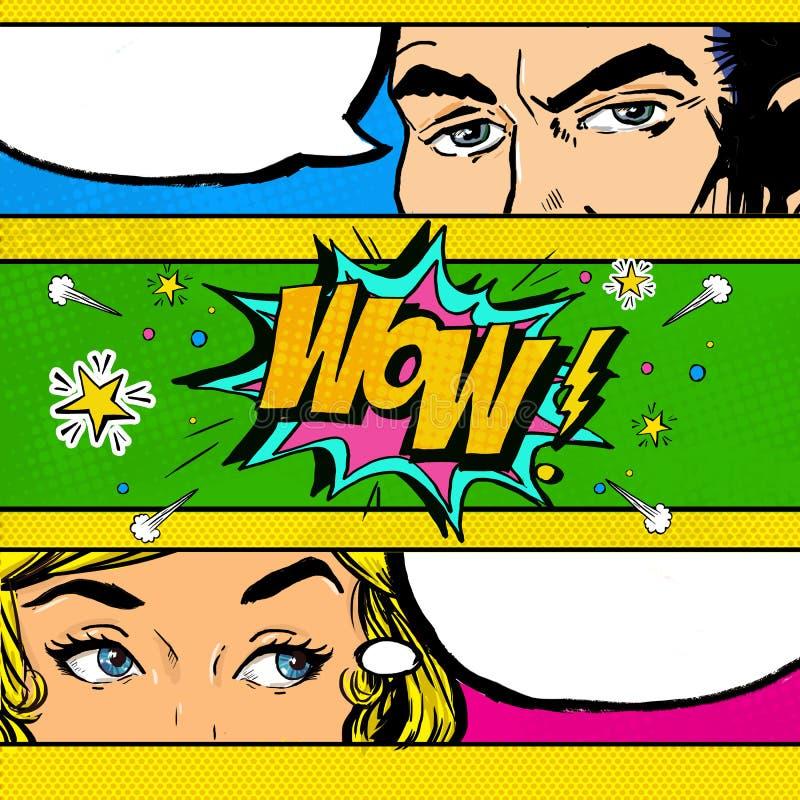 Pop Art comic dialog. Pop Art couple. Pop Art Love. Advertising poster. Comic man and women with speech bubble.Wow face. Surprise. stock illustration