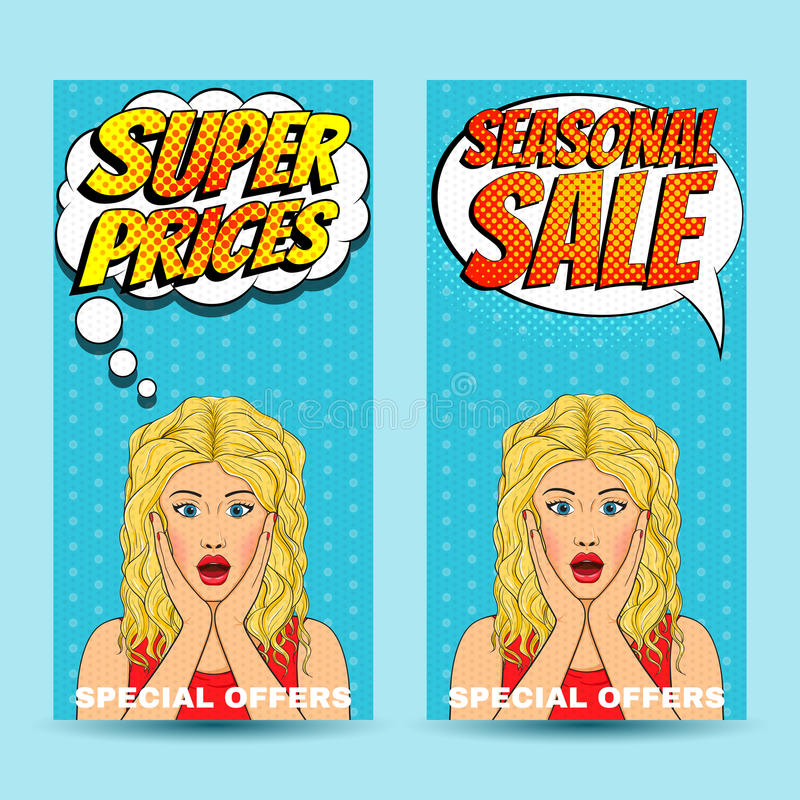 Free Pop Art Comic Sale Discount Promotion Banners With Surprised Woman With Open Mouth And Bubble Royalty Free Stock Photography - 59465017