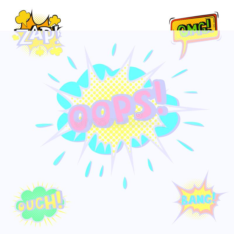 Pop art comic speech bubble boom effects vector explosion bang communication cloud fun humor book splash illustration. Pop art comic speech bubble boom effects stock illustration