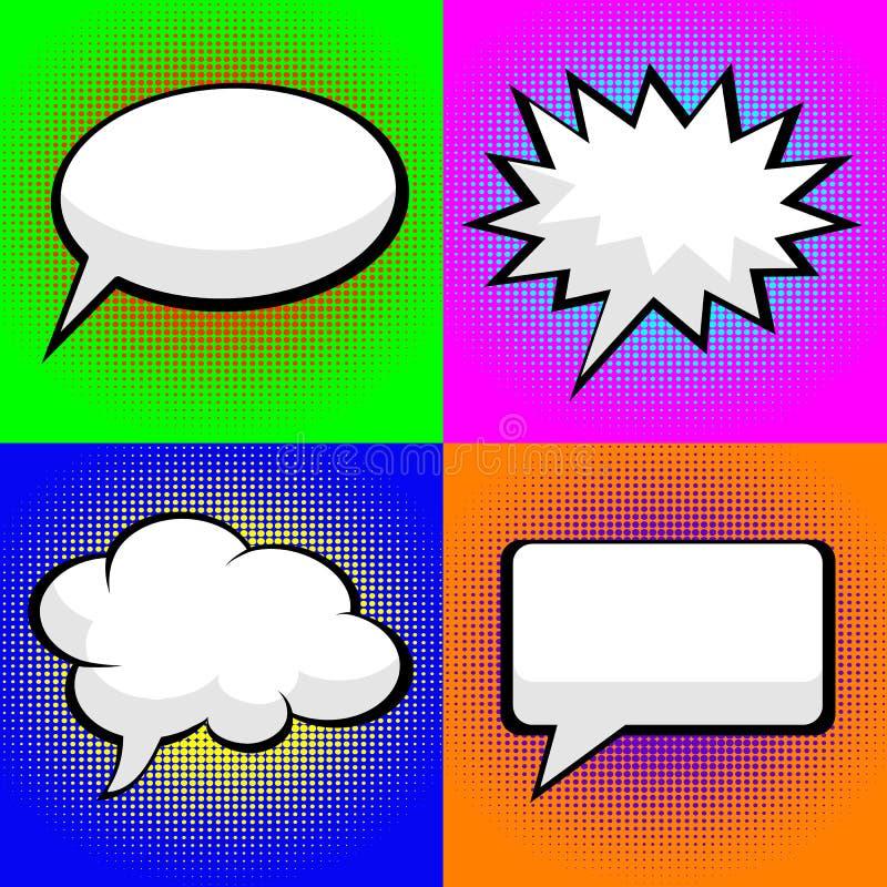 Pop art comic speech bubbles stock illustration