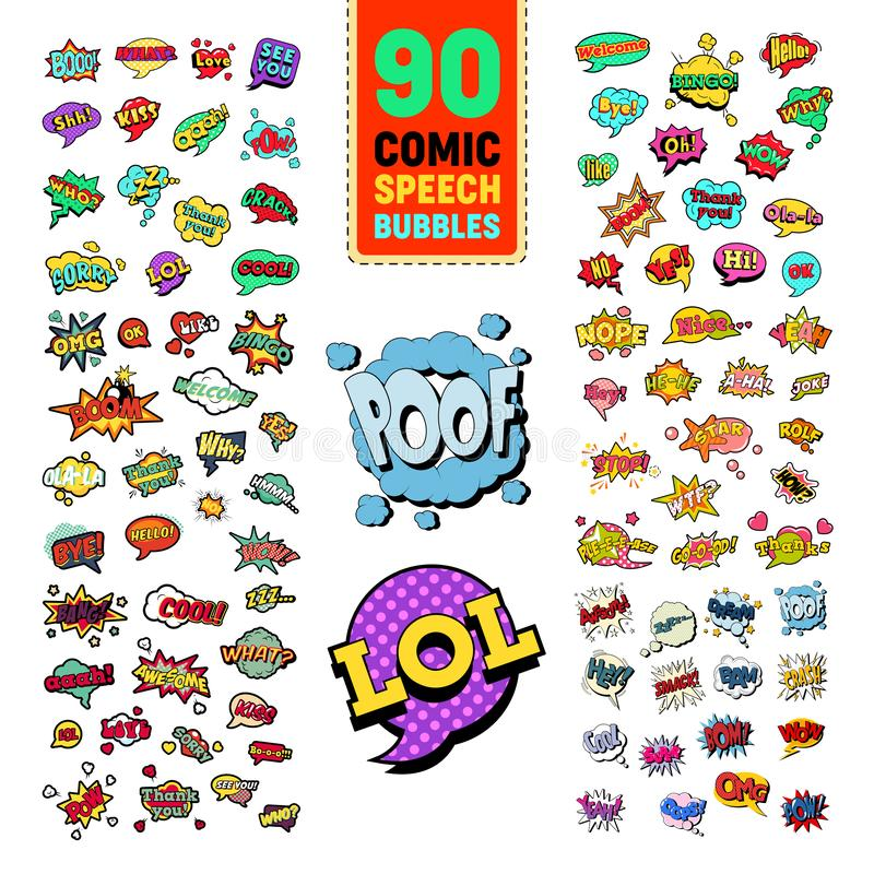 Pop Art Comic Speech Bubbles Collection with Funny Text. Chat, Communication Stickers, Badges and Patches. Vector illustration royalty free illustration