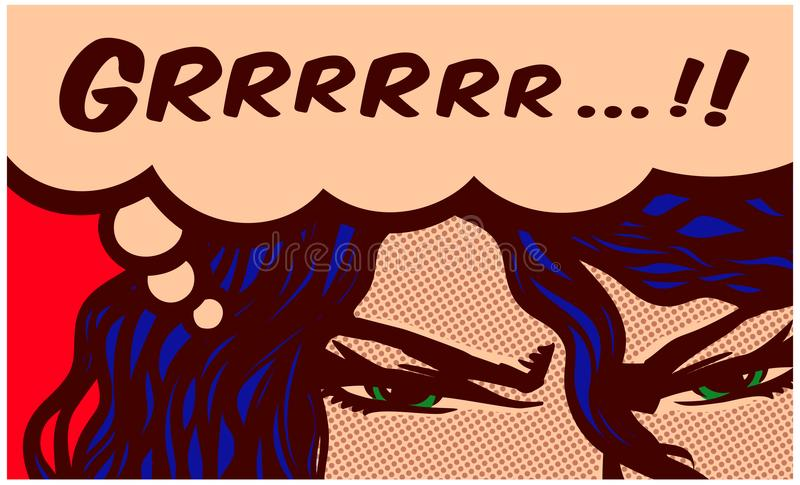 Pop art comics style angry woman eyes grunting with speech bubble vector illustration royalty free illustration