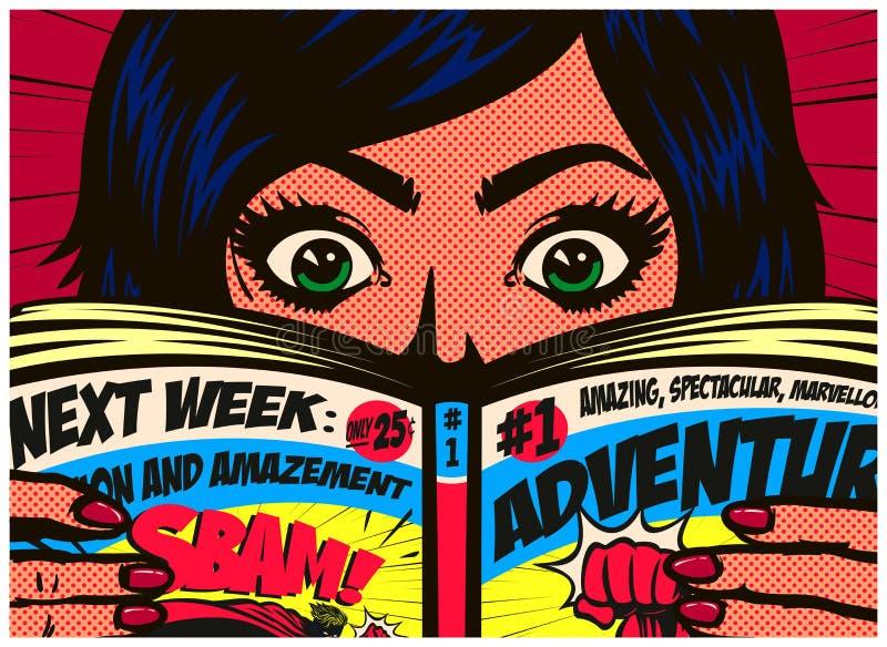 Pop art comics style excited girl reading comic book vector illustration. Pop art comics style excited girl having fun reading comic book or graphic novel royalty free illustration