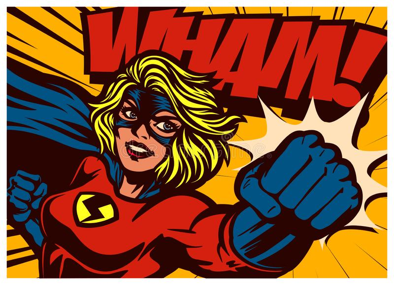 Pop art comics style superheroine punching with female superhero costume vintage comic book vector illustration. Pop art comic book style super heroine punching vector illustration
