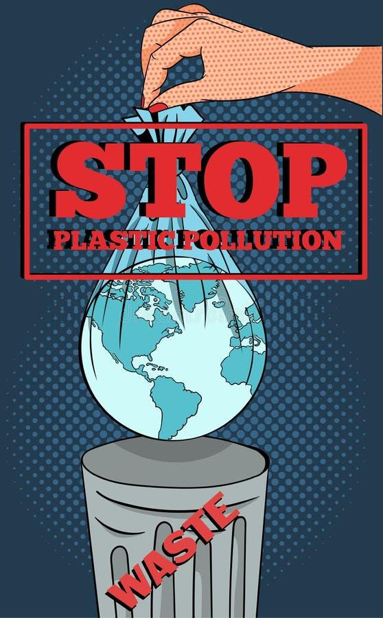 Pop-art-concept van een ecologisch waarschuwingsbeeld van een hand die de aarde in plastic zak gooit in vuilnis royalty-vrije illustratie