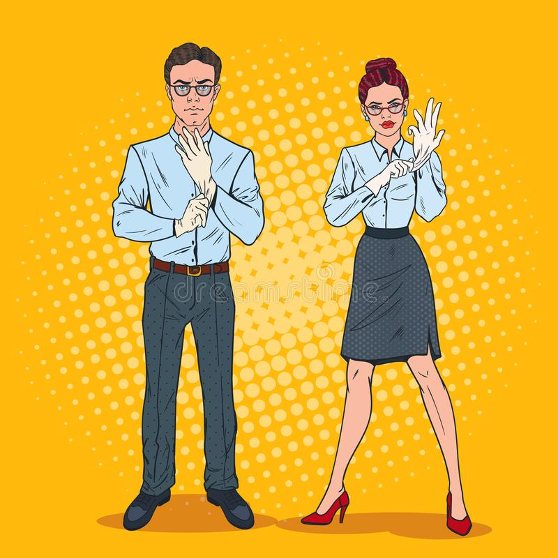 Pop Art Couple of Serious Inspectors in White Gloves. Professional Auditors. Vector illustration royalty free illustration