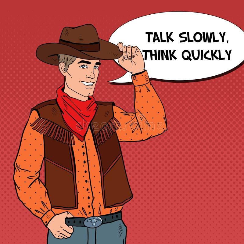 Pop Art Cowboy i hatt som ler med den komiska anförandebubblan västra wild för hjälte royaltyfri illustrationer